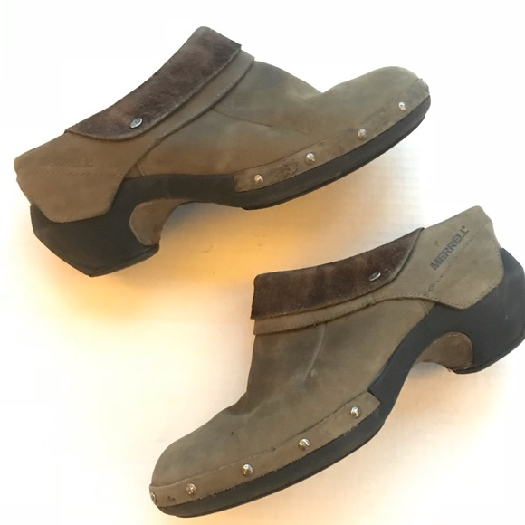 Clothing, Shoes & Accessories Comfort Shoes Merrell Bracken Leather Open Back Clogs Sz 9 M